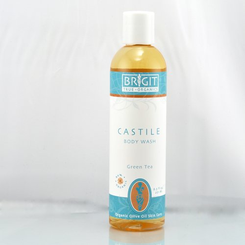 Brigit True Organics- GREEN TEA Castile Body Wash, 8.5 fl. oz. (86% ORGANIC)