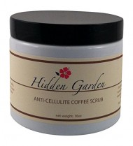 Hidden Garden Anti Cellulite Coffee Scrub 16oz – Dead Sea Salt and Organic Ingredients – Fair Trade Kona Coffee Grounds – Made in the USA
