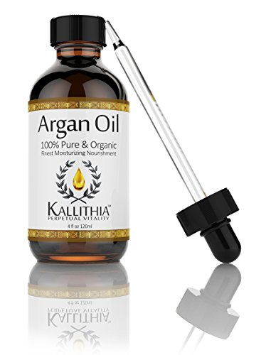 KALLITHIA Finest 100% Pure USDA Organic Argan Oil, Triple Extra Virgin (Grade A) for Hair, Face, Skin & Nails, 4 Oz, Cold Pressed, Eco Certified, Moroccan Super Anti-aging, Anti-Wrinkle, Treats Acne, Scars, Stretchmarks & Psoriasis. Vitamin E & Anti-oxidant Packed, Natural Revitalizing Conditioner, Encourages Healthy Hair Growth for Hair Loss, Tames Frizz, Dry Damaged, Color Treated Hair, Extensions, Wigs, Beautiful Silky Shine, For Men & Women, Great for Shaving and Beard, 100% Satisfaction Money Back Guarantee