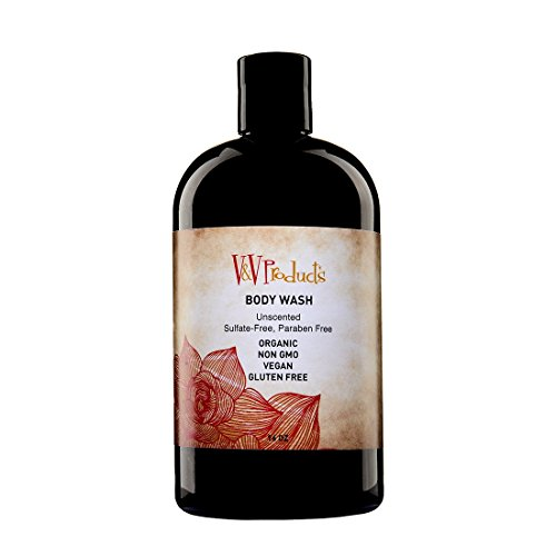 Body Wash For Men & Women-Leaves Skin Clean, Fresh, Moisturized & Nourished-Face Wash, Shampoo, Makeup Remover, Shaving Soap & Kitchen Hand Soap-Organic Non GMO Ingredients, Vegan, Gluten Free, Paraben Free, Sulfate Free-Unscented For Sensitive Users-16oz