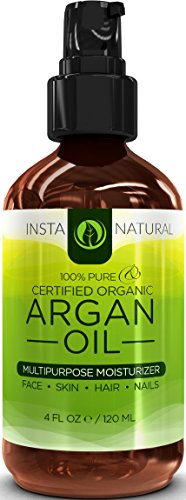 ORGANIC Argan Oil For Hair, Face, Skin & Nails – BEST 100% PURE & ECOCERT Certified Organic Cold Pressed Moroccan Argan Oil – Also Great for Acne, Dry Scalp, Split Ends, Frizzy Hair, Stretch Marks, Body, Cuticles & MORE – This Argania Spinosa Will Make Your Body Shine – Huge 4OZ Bottle-