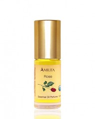 Amrita Aromatherapy: Organic Rose Essential Oil Perfume, 100% Natural & Alcohol-Free (5ml – Roll On Applicator)