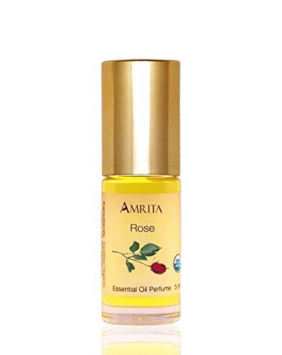 Amrita Aromatherapy: Organic Rose Essential Oil Perfume, 100% Natural & Alcohol-Free (5ml – Roll On Applicator)