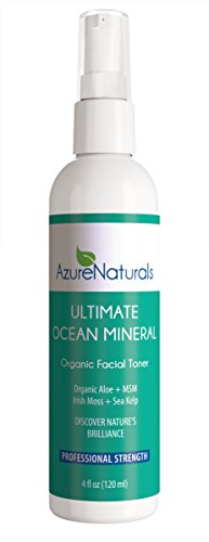 ULTIMATE Ocean Mineral Toner contains 92 powerful oceanic minerals! Micro minerals help repair, rejuvenate and deeply nourish your skin, Irish Moss and Kelp (Algae) stabilizes minerals that deeply moisturize and brighten your skin. Your skin will look and feel healthier, hydrated and give you a beautiful, youthful glow. This wonderful organic facial toner is a proud part of our line of restorative and healing Ocean Mineral anti aging skin care products. 100% Money Back Guarantee.