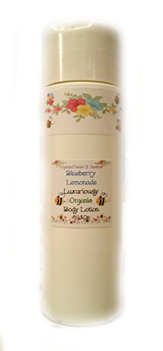 Luxury Organic Body Lotion – NOW 8 Ounce Size!!! 100% All Natural & Non-GMO – Sweet Blueberry & Lemonade Scent – ORGANIC INGREDIENTS – Women – Men – Kids – Will not dry out your skin or leave a long lasting oily residue. Will heal damaged skin – Terrific for EVERY skin type, Oily, Dry, Sensitive or Normal – Natural vitamin content nourishes and improves overall health and condition of your skin. NO: Sulfates, Pthalates, Parabens, Or Dyes