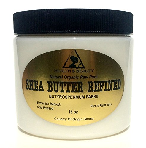 Shea Butter Refined Organic Natural Grade A Ghana Cold Pressed Raw Fresh 100% Pure 16 oz, 1 LB