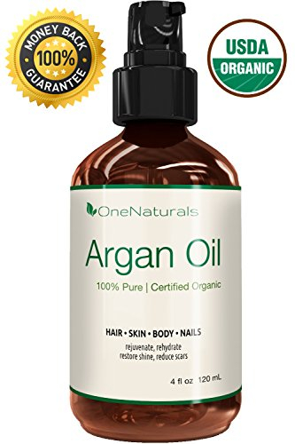 Organic Argan Oil for Hair, Face, Skin, Nails (4oz) – 100% Pure & USDA Organic, Cold Pressed, Triple Extra Virgin – Lifetime Money-Back Guarantee – Pump Bottle – OneNaturals Moroccan Oil is Unscented, Unrefined, Imported from Morocco – Non-Greasy, Non-Irritating to Sensitive Skin – Light-Weight, Fast-Absorbing for Rapid Results – Fresh & Chemical-Free