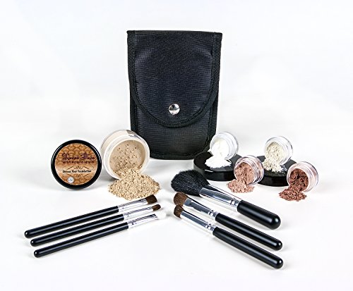 STARTER KIT with 6 pc BRUSH SET Mineral Makeup Bare Skin Matte Foundation Cover (Warm Neutral-most popular)