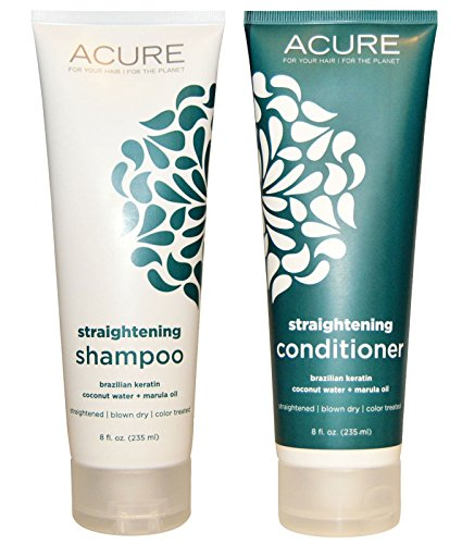 Acure Organics Coconut Hair Straightening All Natural Shampoo and Conditioner Bundle (Sulfate Free) With Keratin Complex Hair Treatment, Marula Oil for Hair, Argan Oil of Morrocco, Aloe Vera and Acai for Men and Women, 8 fl. oz. each