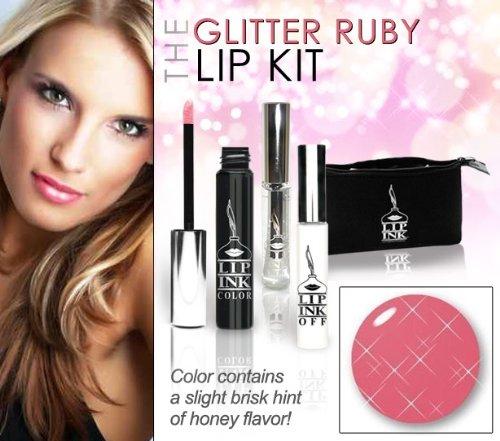 LIP INK Organic Vegan 100% Smearproof Glitter Ruby Lip Stain Kit