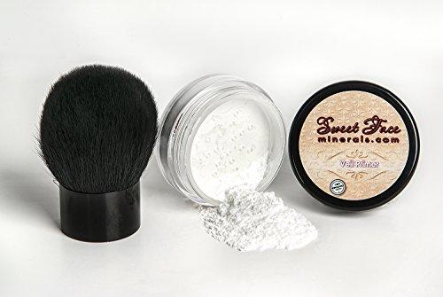 VEIL PRIMER POWDER with KABUKI BRUSH Oil Control Corrector Mineral Makeup Bare Skin Concealer Sheer Loose Powder Full Coverage