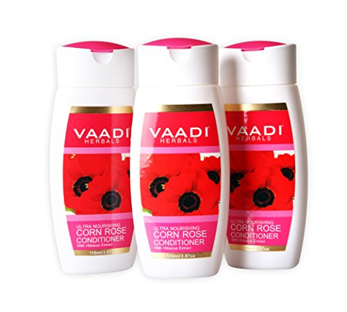 Ultra Nourishing Conditioner – Corn Rose Conditioner with Hibiscus Extract – Herbal Conditioner – Sulfate Free – Scalp Therapy – Moisture Therapy – ALL Natural – Each 3.7 Ounces – Value Pack of 3 X 110ml (11.16 Ounces) – Vaadi Herbals