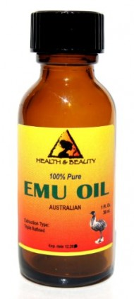 Emu Oil Australian Triple Refined Organic 100% Pure 1 oz in Glass Bottle