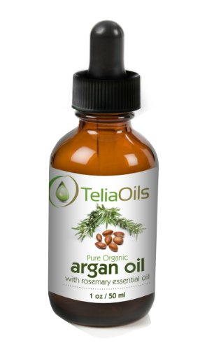 Organic Pure 100 % Argan Oil with Rosemary Essential Oil – Excellent Hair Treatment – 1.7oz (50ml)