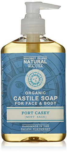 Whidbey Island Natural Organic Liquid Castile Soap – Fort Casey (Mint Sage) 8 fl oz. Fresh and energizing! Use beside the sink or in the shower. Gentle on the skin. Natural foam – No Sodium Lauryl Sulfate (SLS). No alcohol. Handmade in the Pacific Northwest, USA