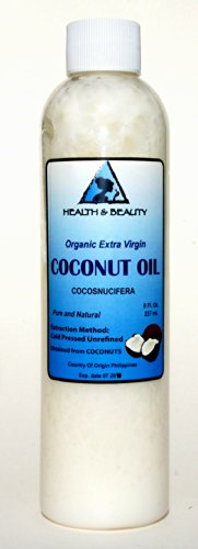 Coconut Oil Extra Virgin Organic Pure Cold Pressed Unrefined Raw 8 oz