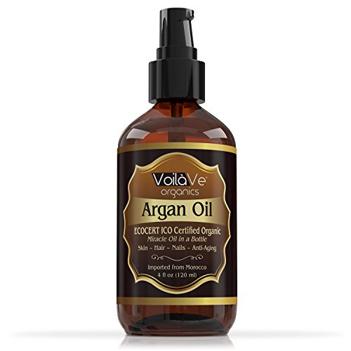 Organic Argan Oil for Hair & Face – Cold-Pressed 100% Pure Moroccan Argan Oil – ECOCERT & USDA Certified Organic – Miracle Beauty Oil for Skin, Hair, & Nails – Convenient Pump Bottle – 4 fl oz.