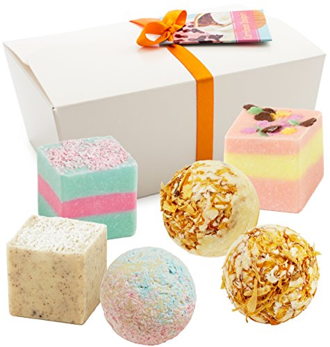"BRUBAKER Cosmetics 6 Handmade ""Carribian Daiquiri"" Spa Bath Bombs Fizzies Gift Set – All Natural Vegan, Organic Shea Butter, Cocoa Butter and Olive Oil Moisturize Dry Skin"