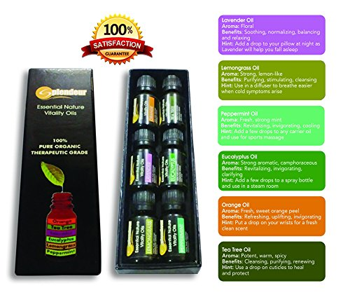 Aromatherapy Oils TOP 6-100% PURE ORGANIC THERAPEUTIC GRADE Essential Oils GIFT Set(Eucalyptus-Flu /Lavender-Cuts /Lemongrass-Fungus /Orange-Skin /Peppermint-HeadAche /TeaTree-Anticeptic)FREE EO Book!