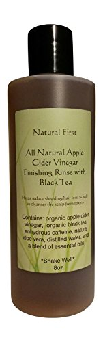 Natural First Organic Apple Cider Vinegar Finishing Rinse w/ Black Tea for Shedding/Hair Loss (DHT Blocking) 8oz