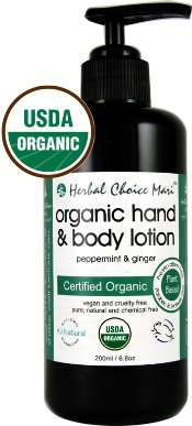 Herbal Choice Mari Organic Hand & Body Lotion Peppermint & Ginger 200ml/ 6.8oz Pump