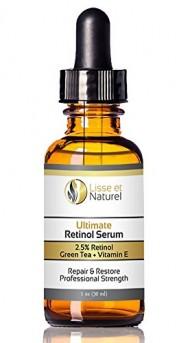 Lisse et Naturel Ultimate Retinol Serum, Maximum Strength 2.5% Retinol, Vitamin E, Green Tea & Jojoba Oil, 100% Natural And 71% Organic