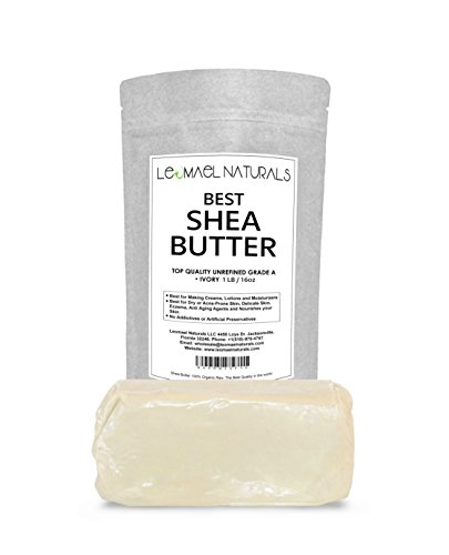 THE #1 Rated Organic Raw Unrefined Premium Grade A, Ivory Shea Butter ln The World By Leomael Naturals – FREE Shea Butter Recipes E-BooK – Best Top Quality Ingredient For DIY Skin Care Recipes – For Skin Moisturizers – For Dry or Acne – Prone Skin, Delicate Baby Skins, Eczema, Wrinkles, Stretch Marks – Color: IVORY – 1LB (16 OZ) – Fresh From Ghana Africa Best Rated Quality In The World.