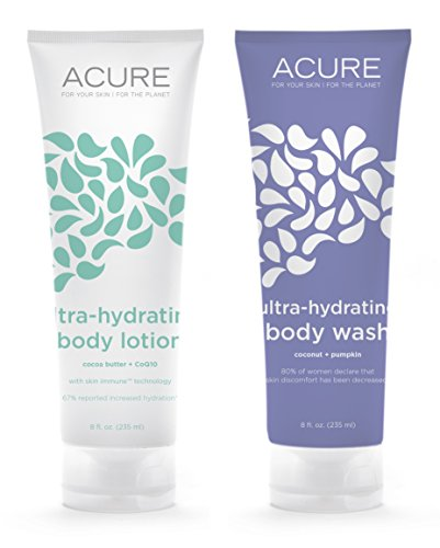 Acure Organics All Natural Ultra-Hydrating Body Lotion & Ultra-Hydrating Body Wash Dry Skin Bundle With Aloe Vera, Cocoa Butter, Jojoba & Argan Oil, 8 fl. oz. each