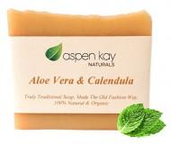 Aloe Vera & Calendula Soap, 100% Organic and Natural, With Organic Aloe Vera, Calendula & Turmeric. Use As a Face Soap, Body Soap or Shaving Soap. For Men, Women, Teens and Baby. Gentle Soap. 4oz Bar
