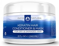InstaNatural Keratin Complex Hair Conditioner & Mask – Best Treatment for Dry & Damaged Hair – Coconut Butter, Organic Argan & Jojoba Oil – Smoothing, Strengthening & Conditioning Formula – 8 OZ