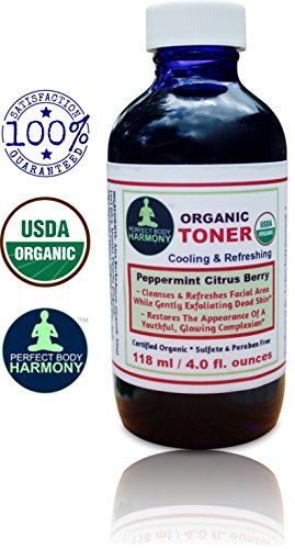 CERTIFIED ORGANIC Facial TONER, Cooling, Refreshing, Mildly Scented Peppermint Citrus Berry for Cleansing & Exfoliating! * 4.0 oz BLUE Glass Bottle * Sulfate & Paraben Free! * Buy It! LOVE IT!