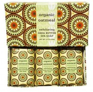 Organic Oatmeal Exfoliating Shea Butter Spa Soap Set by Greenwich Bay Trading Co. Individually Wrapped 3 x 4.3 oz in Gift Box