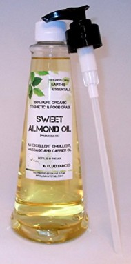 Convenient 16 Oz. Pump Bottle Filled With 100% Pure Organic Sweet Almond Oil From Earth's Essentials