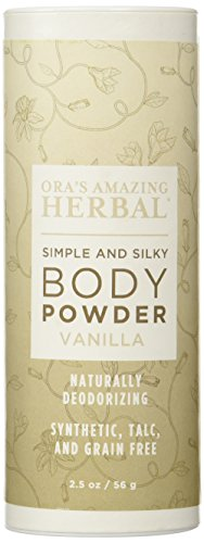 Natural Body Powder, Talc, Grain, Corn Free, Gluten Free, Real Soft Vanilla Scent (Raw Organic Vanilla and Essential Oils), Ora's Amazing Herbal