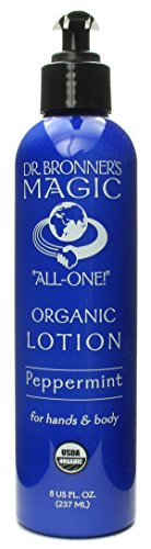 Dr. Bronner's & All-One Organic Lotion for Hands & Body, Peppermint, 8-Ounce Pump Bottles (Pack of 2)