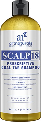 Art Naturals Scalp18 Coal Tar Therapeutic Anti Dandruff Shampoo 16 oz – Helps clear symptoms of Psoriasis, Eczema, Itchy Scalp & Dandruff – Made in USA with Natural & Organic Ingredients-Sulfate Free