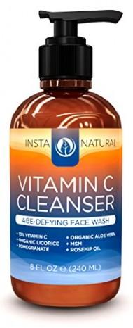 InstaNatural Vitamin C Facial Cleanser – Revitalizing Anti-Aging Face Wash with 10% Vitamin C, Organic Aloe Vera & Rosehip Oil – Deep Skin Moisturizer & Rejuvenator – Unclog & Minimize Pores – 8 OZ