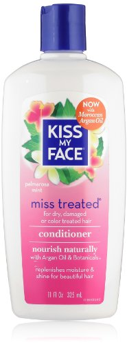 Kiss My Face Miss Treated Conditioner for Damaged Hair, Organic Natural Conditioner with Argan Oil, Palmarosa Mint, 11 Ounce (Pack of 3)