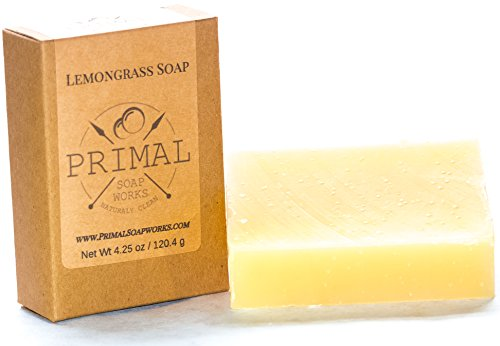 Spa Grade Lemongrass Natural Soap Bar | 100% Natural & Organic | Aligned with Primal & Paleo Lifestyle | Oversized | Great for Acne, Eczema, Psoriasis | For Women and Men