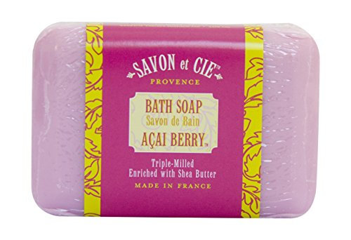 Savon et Cie Triple Milled Soap, 7oz (200g) bar. Made in France. With Organic Shea Butter – Acai Berry