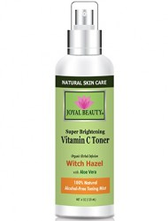100% Natural Witch Hazel Vitamin C Toner for Face By Joyal Beauty. Best Alcohol-free Organic Toner for All Skin Types Including Acne-prone Skin. With Neroli, Sage, Glycolic Acid, Cranberry, Aloe Vera.