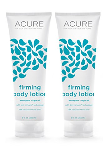 Acure Organics Natural Firming Body Lotion With Lemongrass, Argan Oil For Face & Body, & Anti-Aging Rosehips For Dry Skin, 8 fl. oz. (Pack of 2)