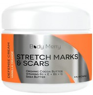 Stretch Marks and Scar Cream – Vanilla Orange – Best Body Moisturizer to Prevent and Reduce Old and New Marks & Scars – Natural & Organic for Pregnancy- Also for Men- 4 oz – By Body Merry
