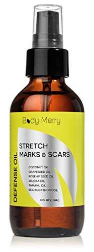 Body Merry Oil for Stretch Marks & Scars – 6 Naturally Powerful Oils – Works for Old or New Marks from Pregnancy, Body Building or Growth Spurts + Dry Hands, Cuticles or Feet – #GetHappyAboutYourSkin