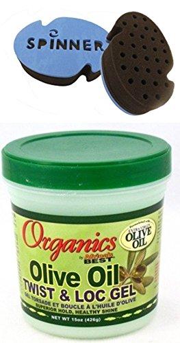 Spinner Extra Firm Premium Hair Sponge for Dreads & Afro with Africas Best Organics Olive Oil Gel Twist & Lock 15oz Jar