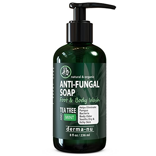 Antifungal Soap with Tea Tree Oil & Active Ingredients Help Treat & Wash Away Athletes Foot, Nail Fungus, Jock Itch, Ringworm, Body Odor & Acne. Antibacterial Defense Against Fungal Irritations – 8oz
