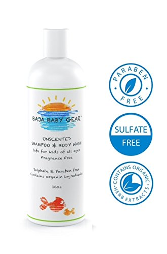 Baja Baby Unscented Shampoo and Body Wash – 16 fl oz – FREE of Sulphates, Parabens and Phosphates – Organic, Natural Baby Wash – Gentle for Kids of All Ages – From our Honest Company to Your Happy Home – 100% Money Back Guarantee!