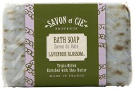 Savon et Cie Triple Milled Exfoliating Soap, 7oz (200g) bar. Made in France. With Organic Shea Butter – Lavender Blossom (Pack of 3)