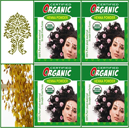 Qty 4 100g Certified Organic Henna Powder For Hair Color