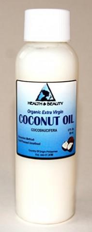 Coconut Oil Extra Virgin Organic Pure Cold Pressed Unrefined Raw 2 oz